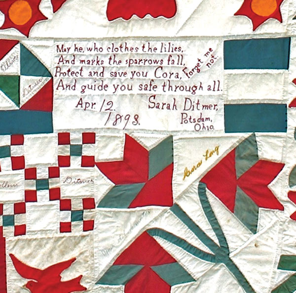 "Cora's Quilt Detail: ""May he, who clothes the lilies…"""
